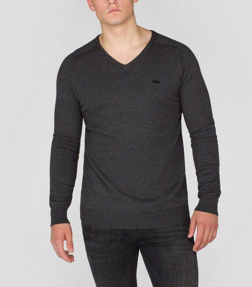 ALPHA INDUSTRIES Pullover »V-Neck Knit« in greyblack