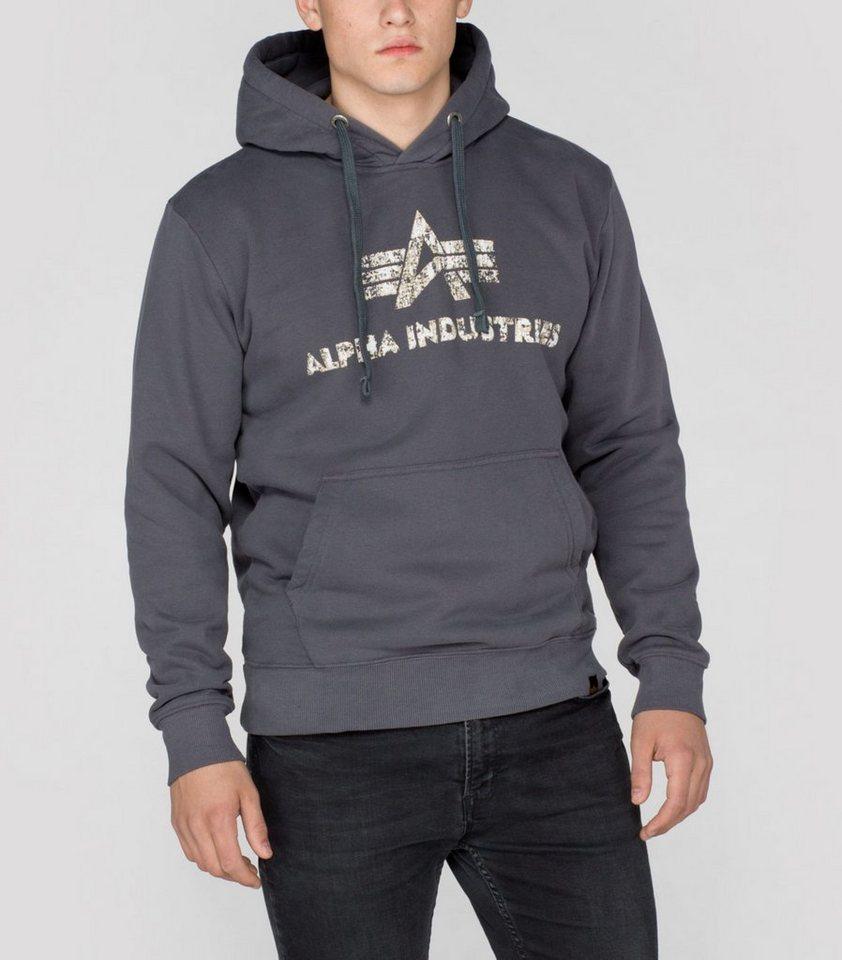 ALPHA INDUSTRIES Sweats »Logo Vintage Hoody« in greyblack