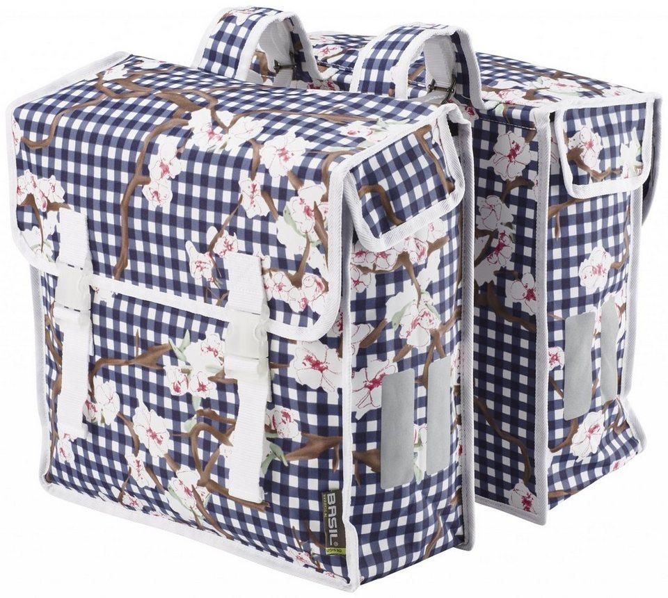 Basil Gepäckträgertasche »Blossom Farm Doppeltasche weiß-blau«