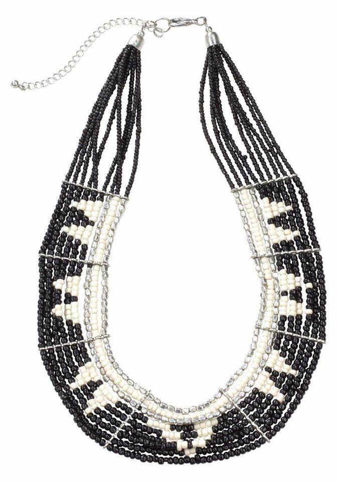 J. Jayz Collier mit Zierperlen in schwarz-weiß