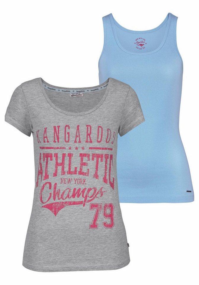KangaROOS Print-Shirt (Set, 2 tlg., mit Top) in grau-meliert-hellblau