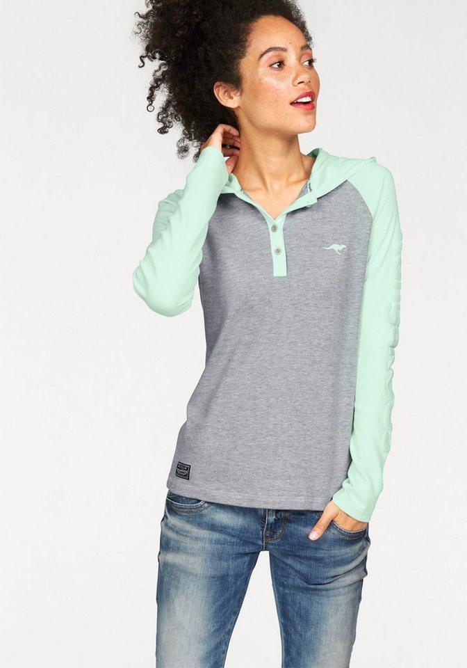 KangaROOS Kapuzenshirt Im Colourblocking-Look in grau-meliert-mint