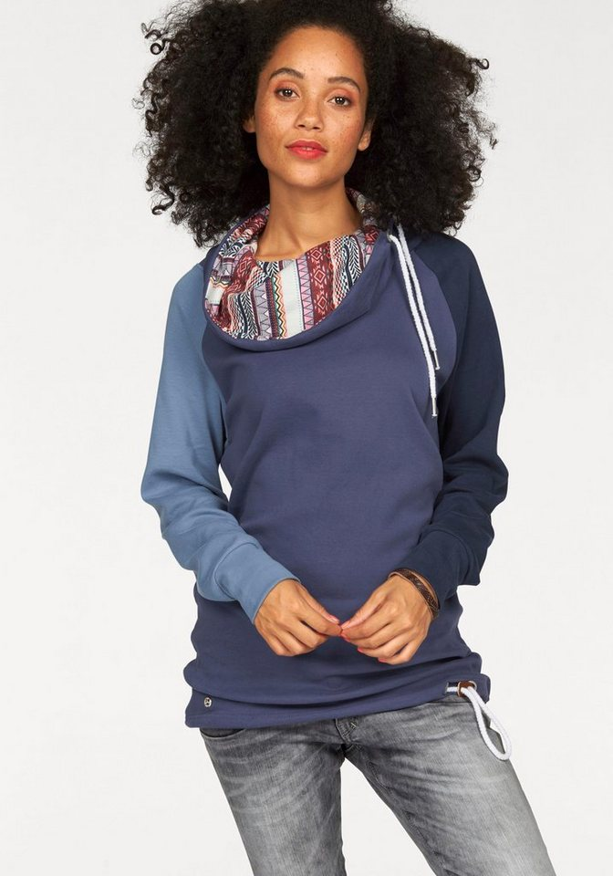 KangaROOS Longsweatshirt mit bedrucktem Schalkragen in jeans-blau-hellblau-dunkelblau