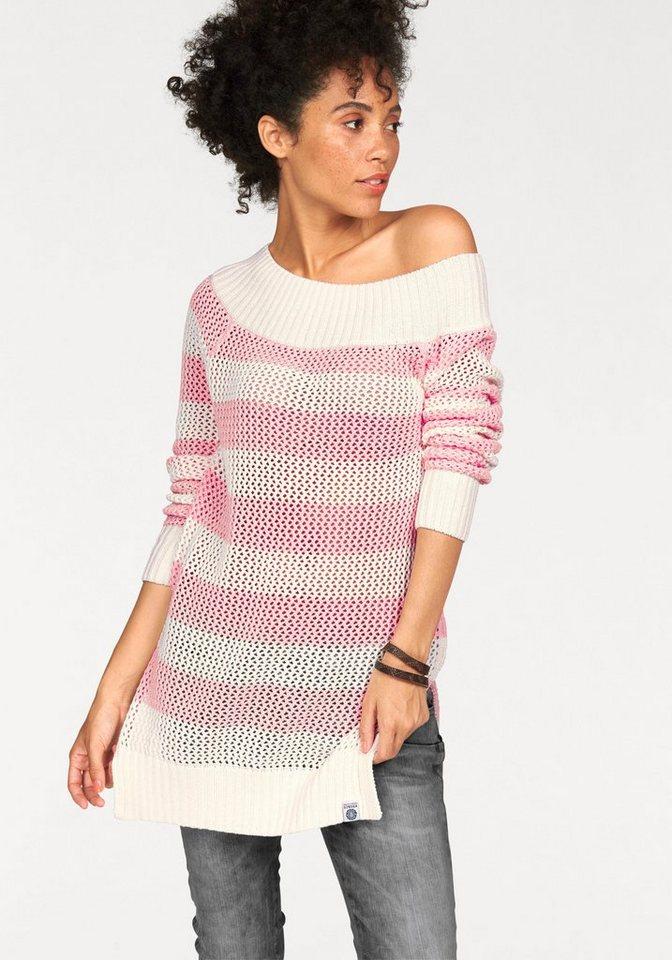 KangaROOS Streifenpullover im leicht schulterfreien Look in rosé-wollweiß