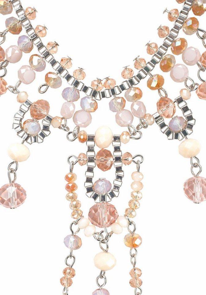J. Jayz Lange Kette mit Zierperlen in silberfarben-rosé