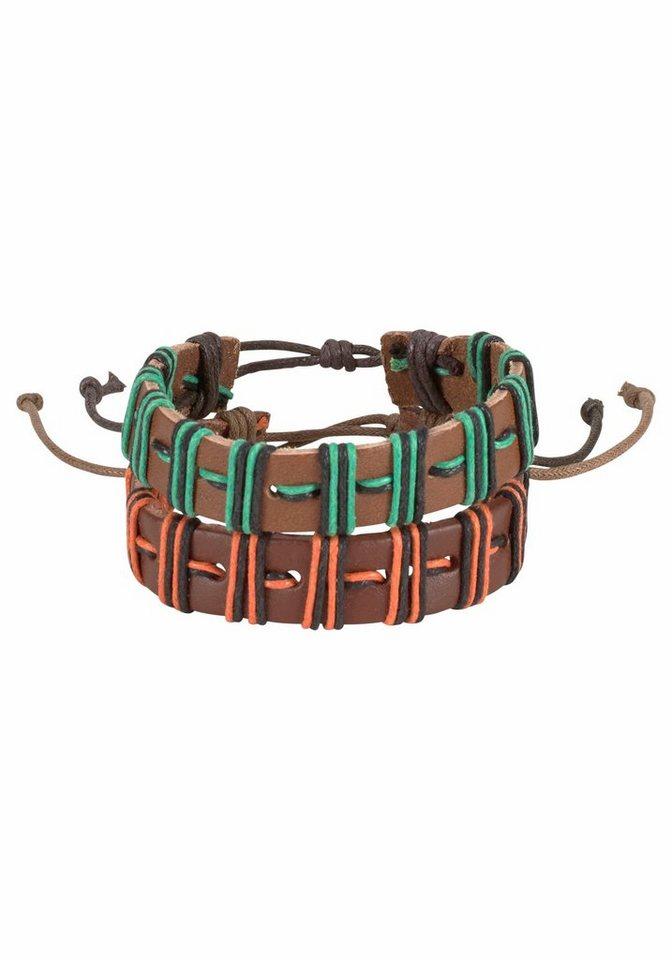 J. Jayz Armband Set mit Verschiebeknoten in braun