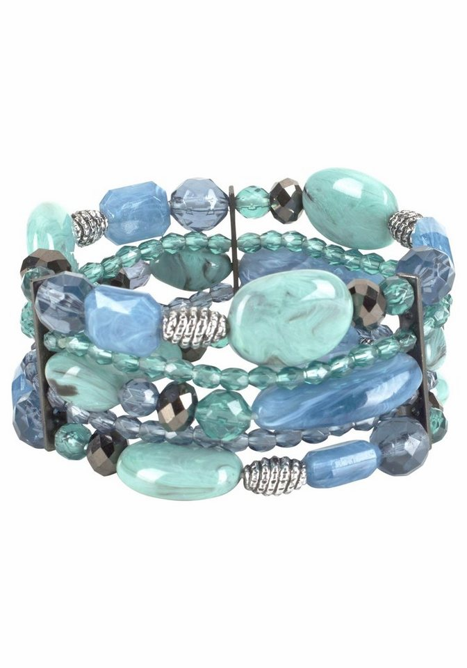 J. Jayz Armband mit dekorativen Schmucksteinen in blau-grün