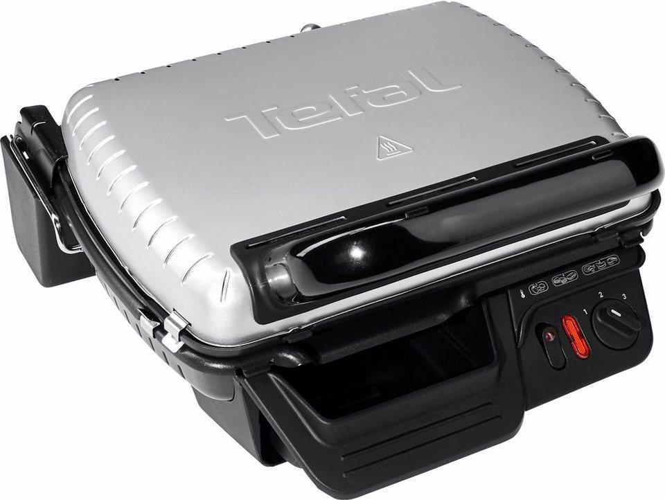 Tefal Kontaktgrill 2 in 1 GC3050, 2000 Watt, wärmeisoliertes Metall-Gehäuse in silber-schwarz