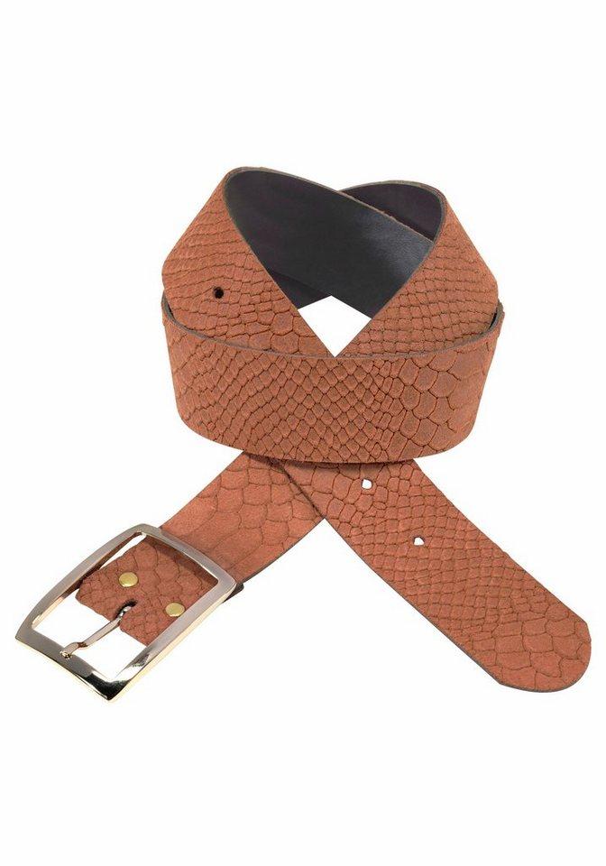J. Jayz Ledergürtel mit glänzender Schließe in rostbraun