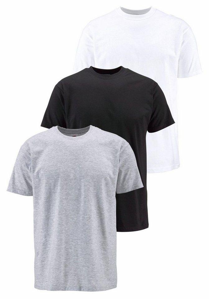 Fruit of the Loom T-Shirt (Packung, 3 tlg.) in grau+schwarz+weiß