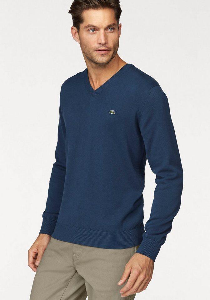 Lacoste V-Ausschnitt-Pullover in jeans-blau