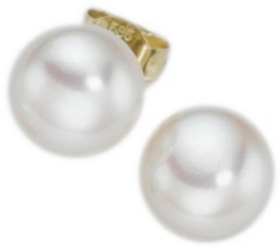 Adriana Paar Ohrstecker »La mia perla, O100SWB-14M/Ba« in Gelbgold 585-weiß