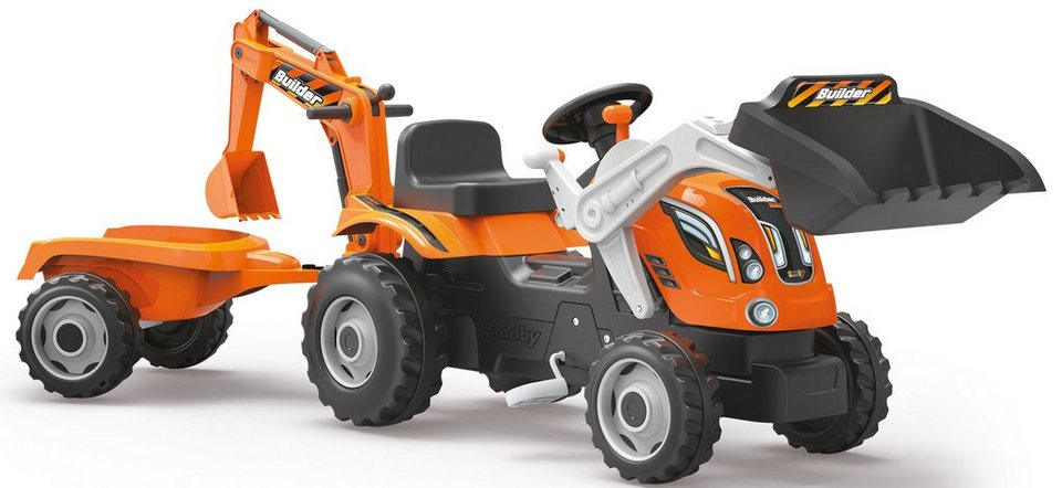 Smoby Trettraktor mit Heckbagger, Frontlader und Anhänger, »Builder Max« in orange
