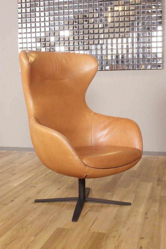 Kasper-Wohndesign Ohrensessel Leder Africa Cognac Braun »KAWOLA PAULA«