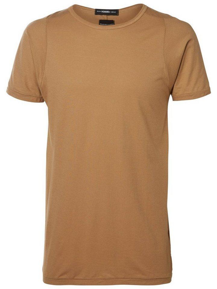 Selected Rundausschnitt T-Shirt in Tigers Eye