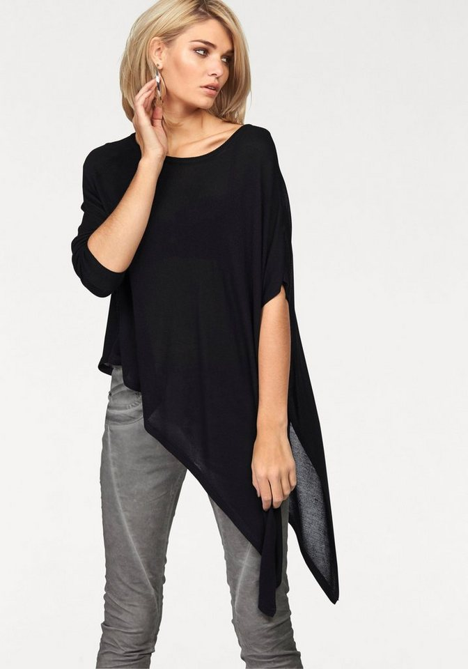 Laura Scott Rundhalspullover mit asymmetrischem Saum und Ärmeln in schwarz