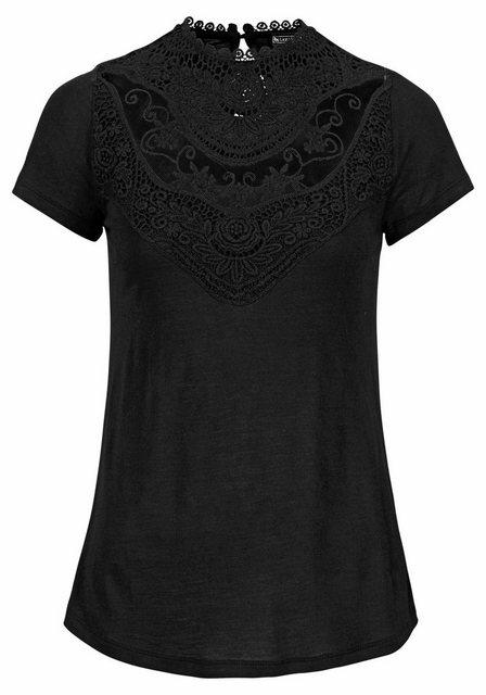 Laura Scott Rundhalsshirt mit aufwendigem Spitzeneinsatz vorne   Bekleidung > Shirts > Rundhalsshirts   laura scott