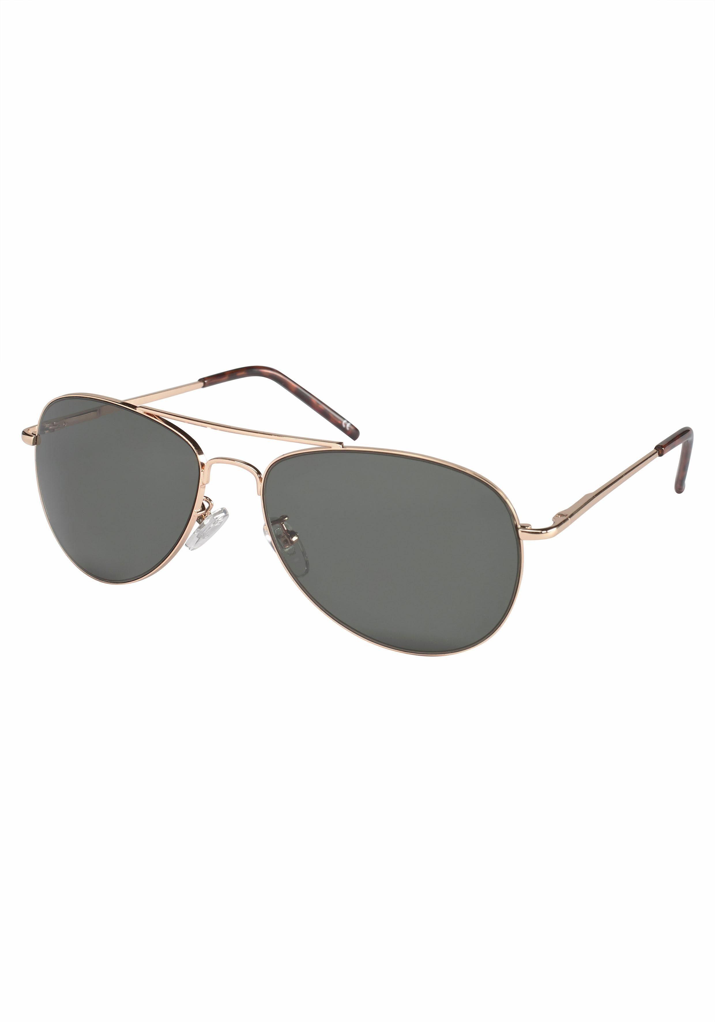 PRIMETTA Eyewear Sonnenbrille, im Aviator Look, Pilotform, Fliegerbrille, goldfarben, goldfarben-grau