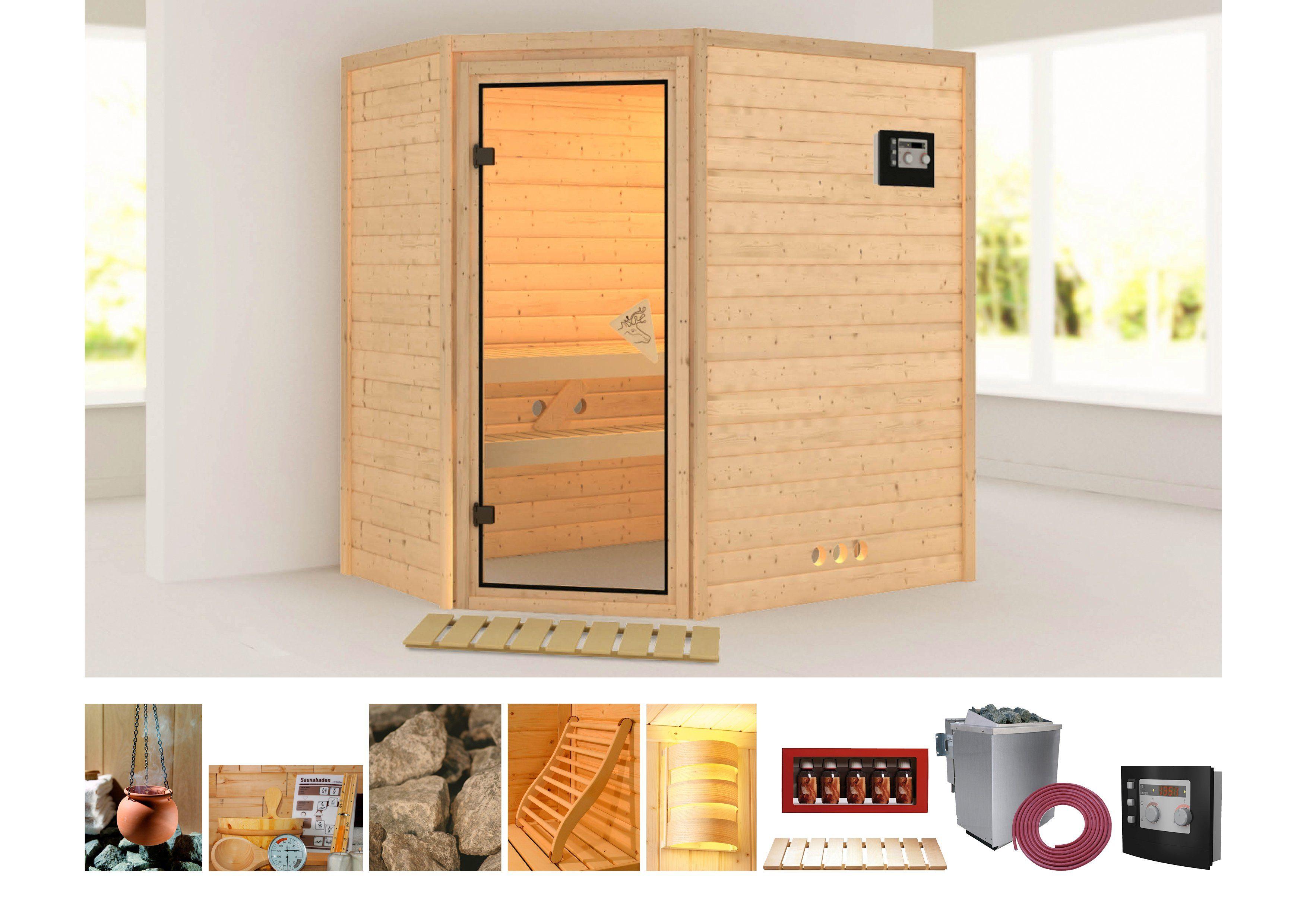 Karibu Sauna »Svea«196/144/198 cm, 38 mm, 9-KW-Bio-Kombiofen mit ext. Steuerung