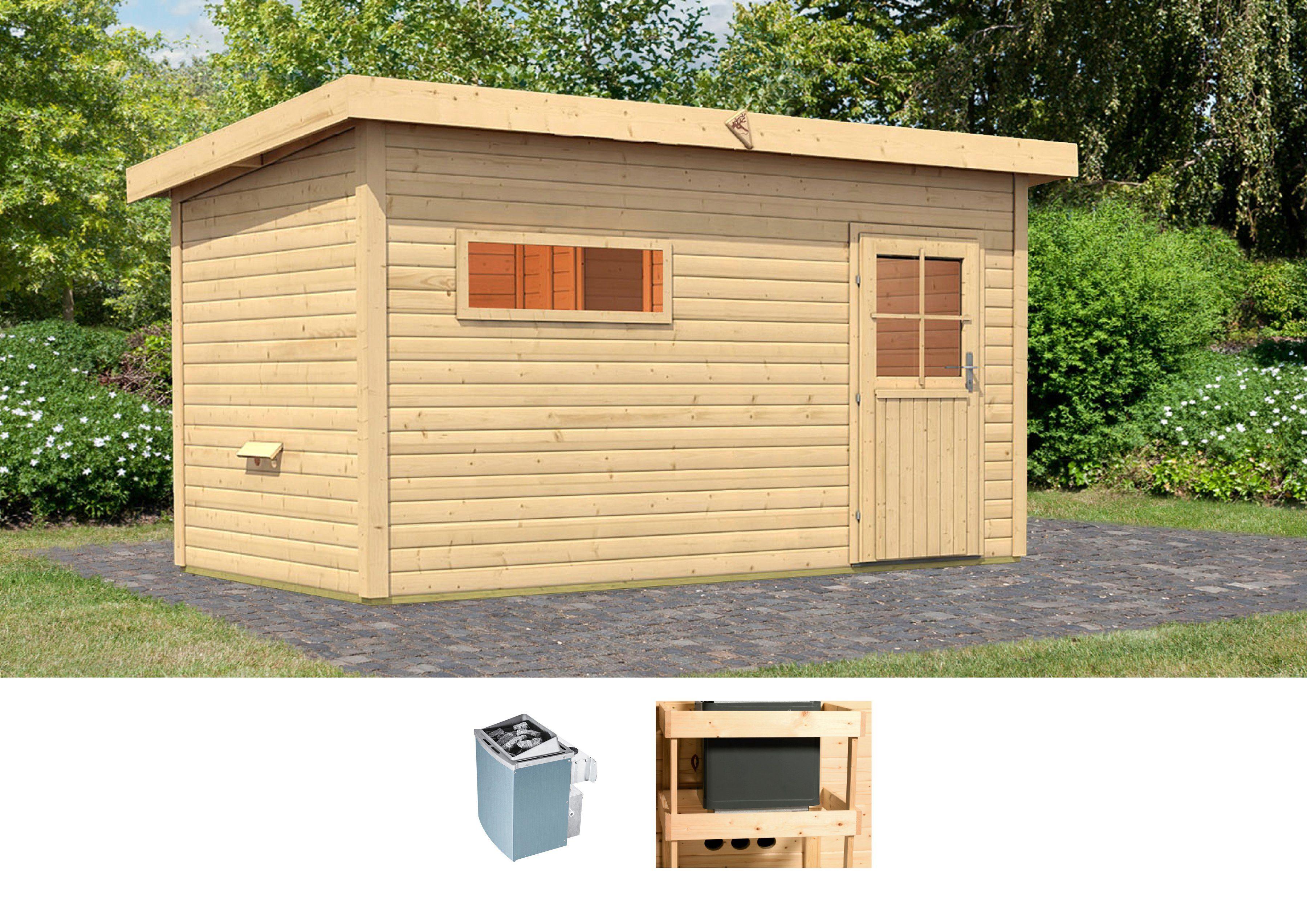 Karibu Set: Saunahaus »Uwe 3«, 393/231/239 cm, 9-kW-Ofen mit int. Steuerung