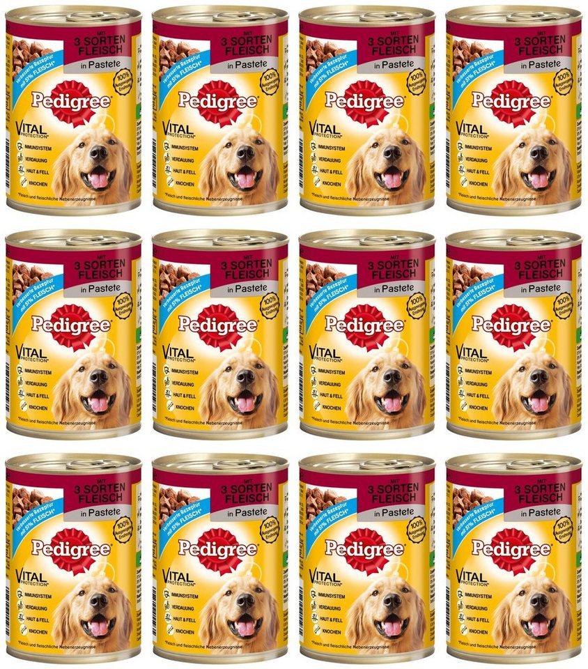 Hundenassfutter »Pastete mit 3 Sorten Fleisch«, 12 Dosen á 400 g oder 12 Dosen á 800 g in braun