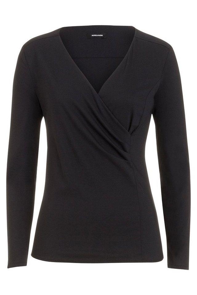 MORE&MORE Bluse, Wickeloptik in schwarz