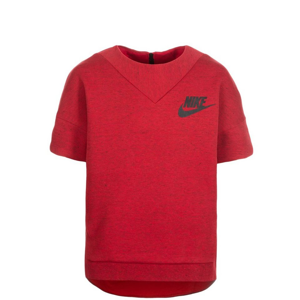 NIKE Tech Fleece Crew Trainingssweat Kinder in rot / schwarz