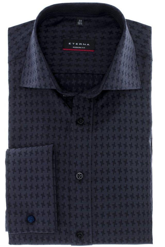 ETERNA Langarm Hemd »MODERN FIT« in schwarz