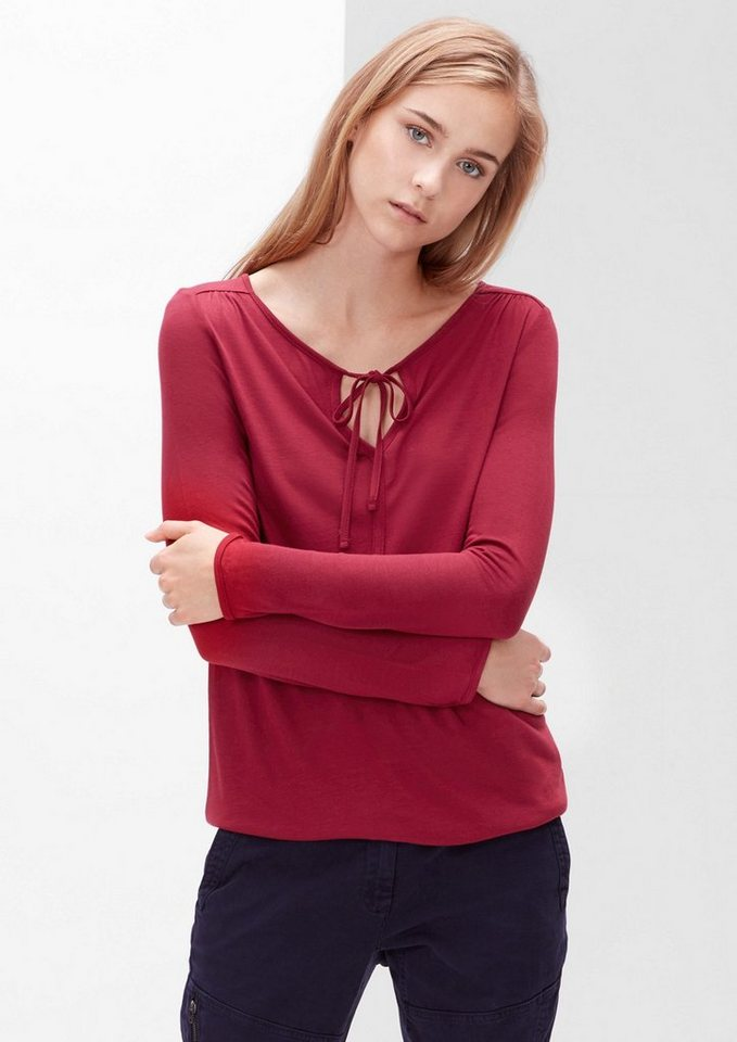 s.Oliver RED LABEL Viskoseshirt in O-Shape in winter berry