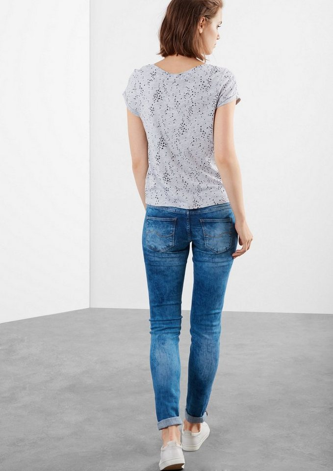Q/S designed by Superskinny: Moonwashed-Jeans in blue denim, heavy st