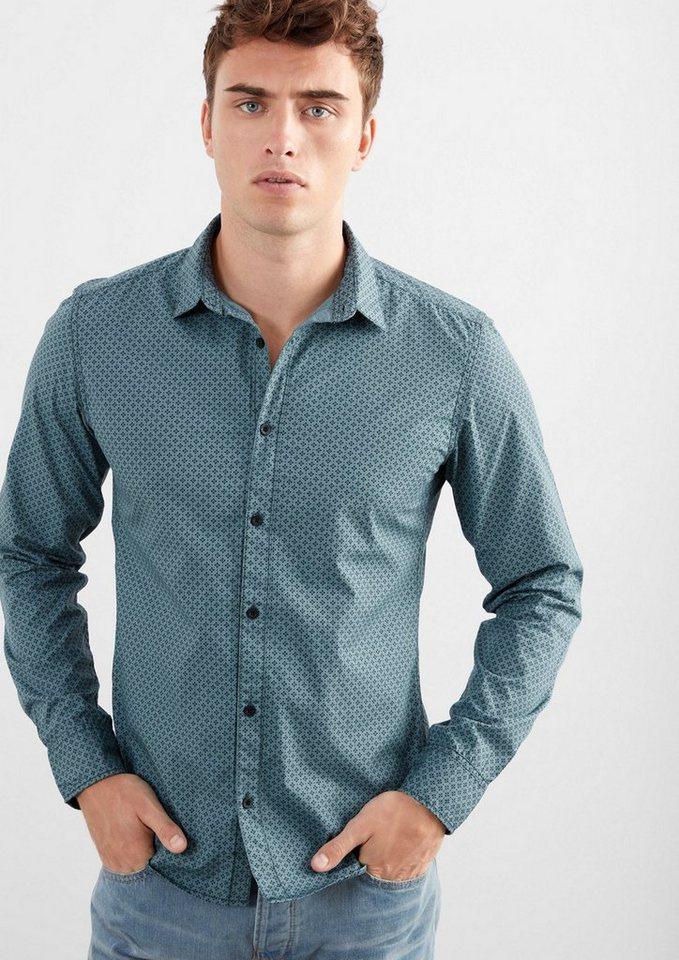 Q/S designed by Extra Slim: Hemd mit Minimalmuster in urban blue