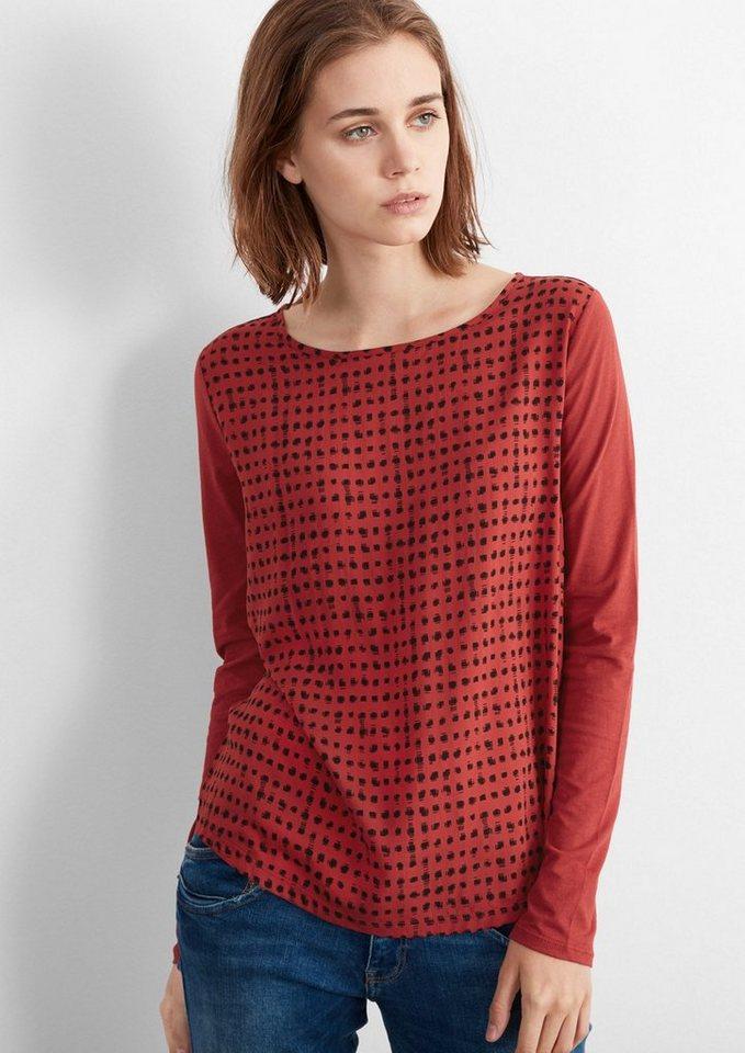 Q/S designed by Blusenshirt mit Grafik-Muster in brick red AOP