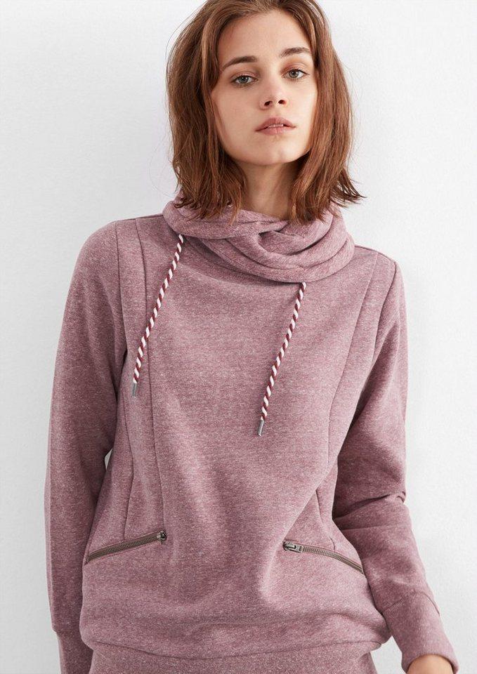 Q/S designed by Meliertes Sweatshirt mit Turtleneck in bordeaux melange