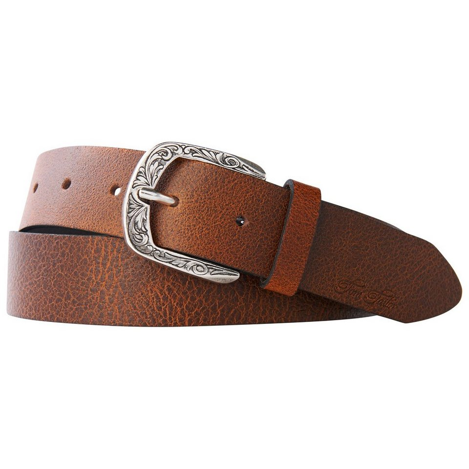 TOM TAILOR Gürtel »leather belt with patterned buckle« in cognac