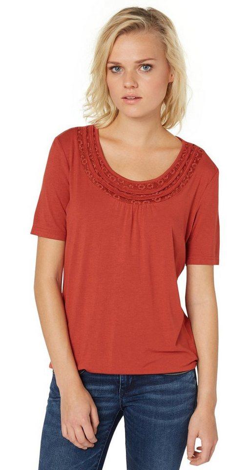 TOM TAILOR T-Shirt »T-Shirt mit dekorativen Ausschnitt« in velvet red