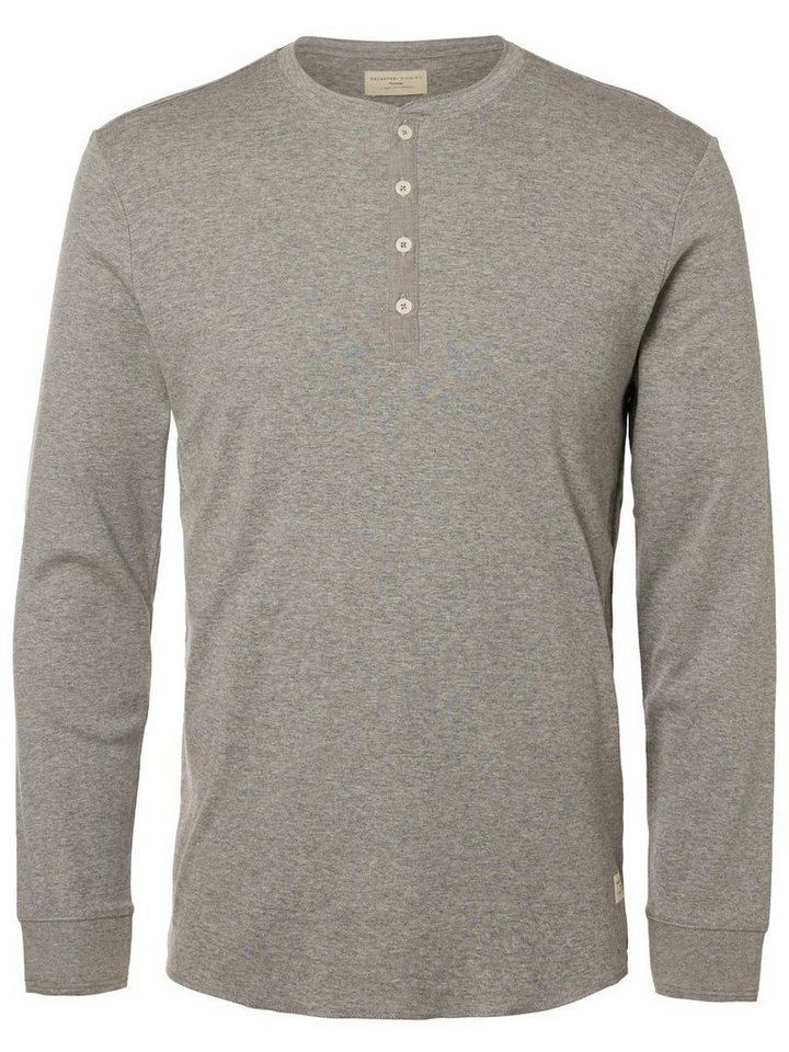 Selected Split-Neck- T-Shirt mit langen Ärmeln in Light Grey Melange