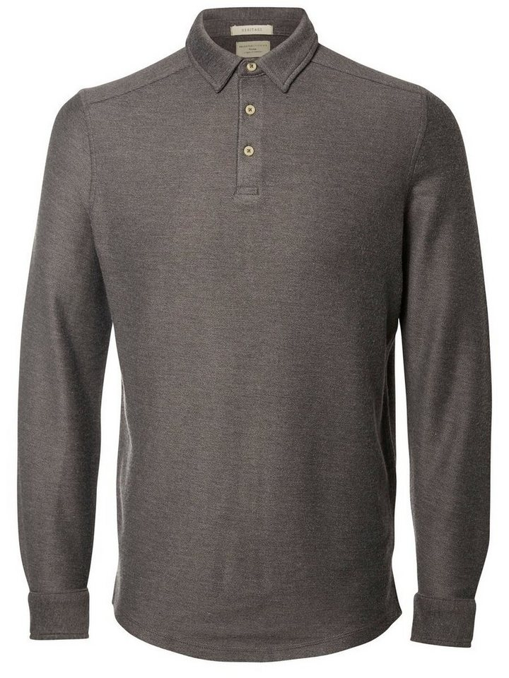 Selected Slim fit- Poloshirt in Medium Grey Melange