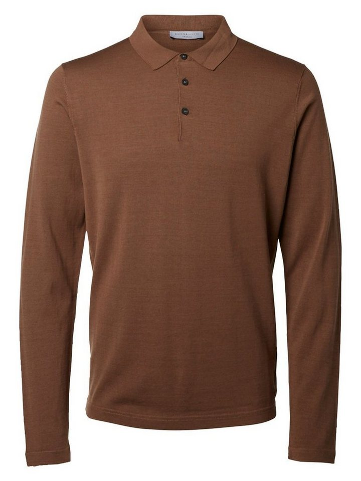 Selected Gestricktes Poloshirt in Camel