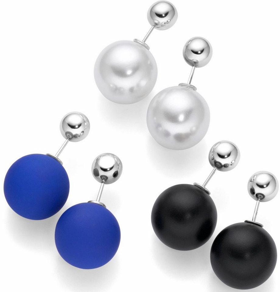 Firetti Ohrstecker-Set »Kugel« Doubleface in silberfarben-schwarz-blau-weiß