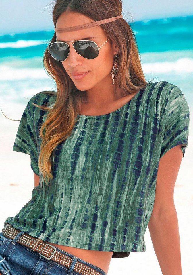 Buffalo London Strandshirt in Kurzform in grün-marine