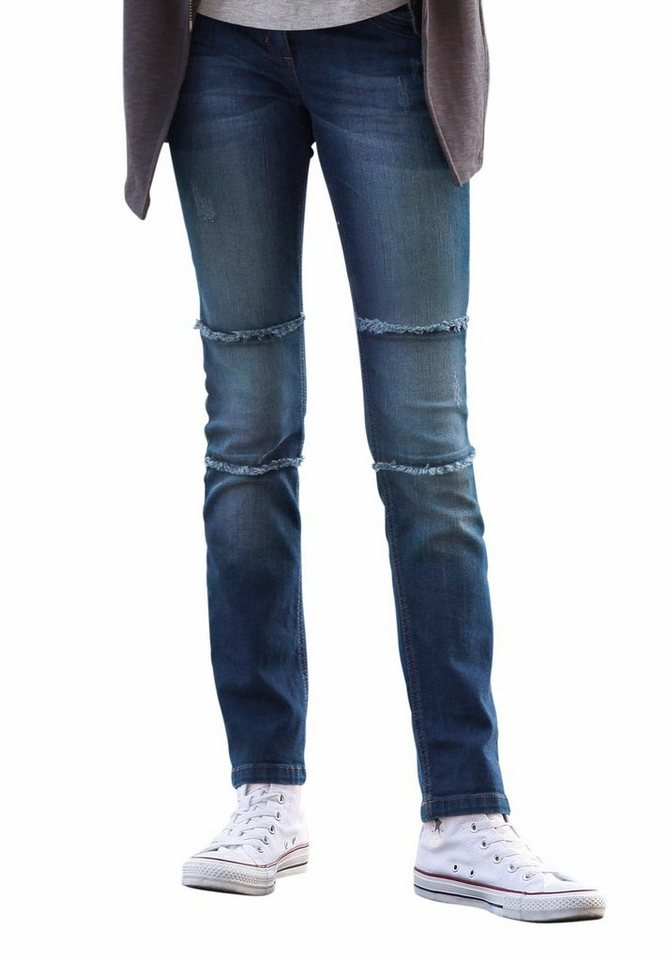 s.Oliver RED LABEL Junior Jeans mit ausgefransten Ziernähten am Knie, für Mädchen in dark denim