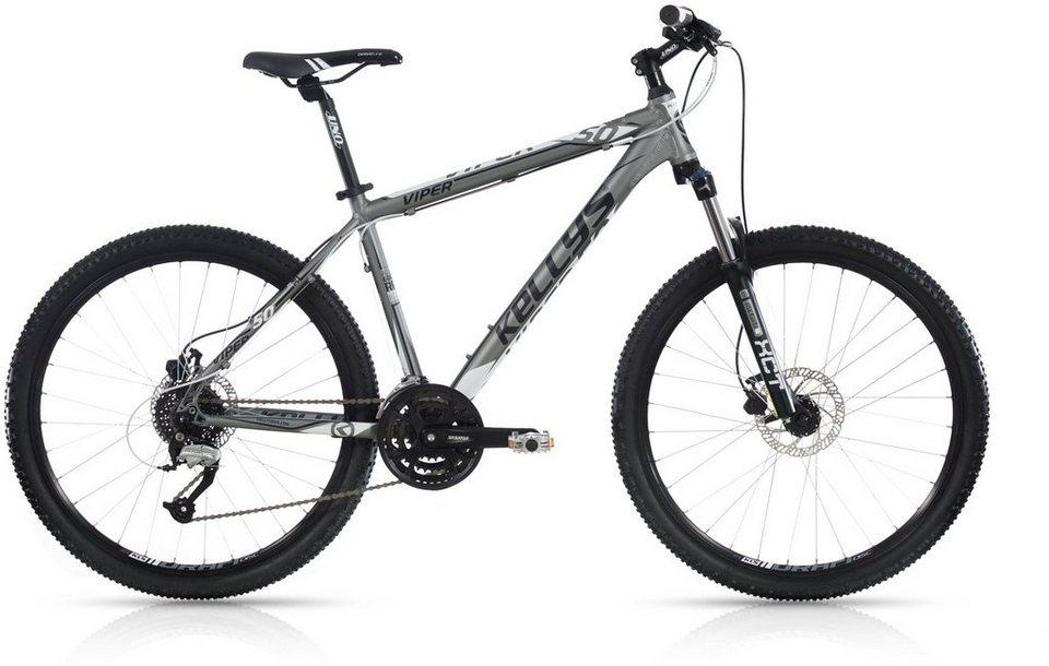 Kellys Hardtail Mountainbike, 24 Gang Shimano Altus Kettenschaltung, »Viper 50« in grau