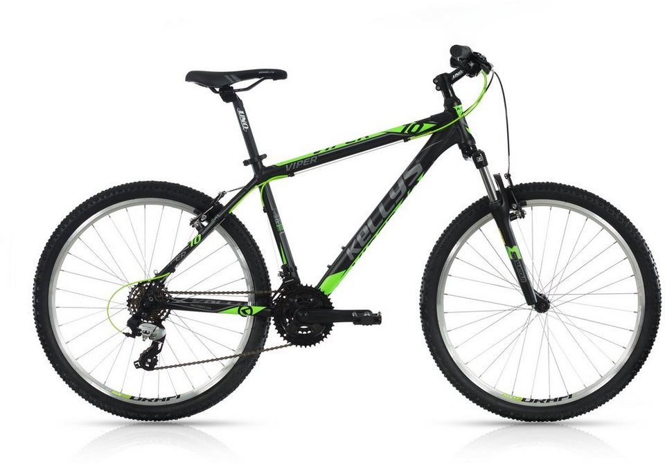 Kellys Hardtail Mountainbike, 26 Zoll, 21 Gang Shimano TX 800 Kettenschaltung, »Viper 10« in schwarz-grün