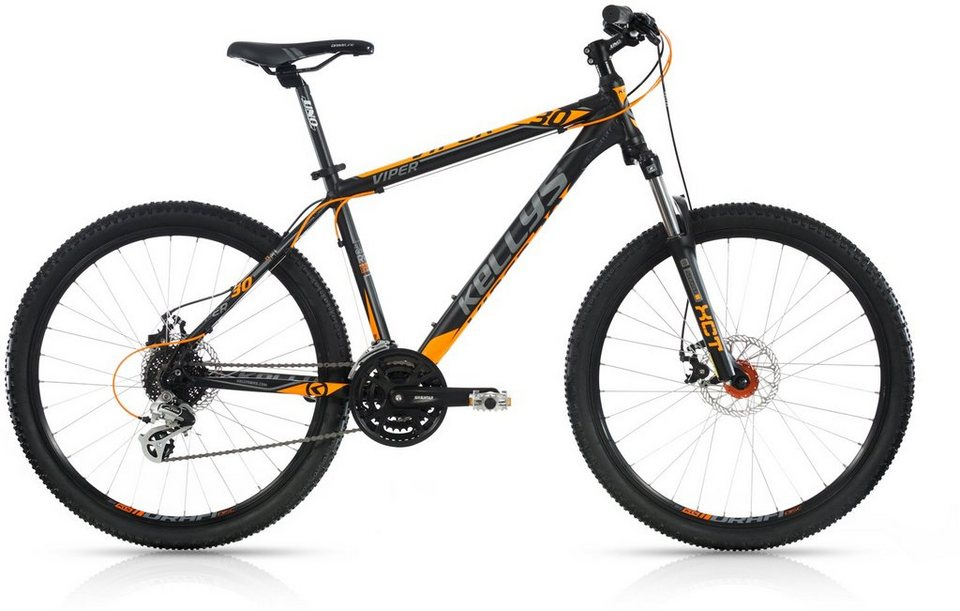 Kellys Hardtail Mountainbike, 24 Gang Shimano Altus Kettenschaltung, »Viper 30« in schwarz-orange