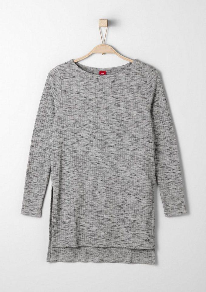 s.Oliver RED LABEL Junior Meliertes Rippshirt für Mädchen in grey AOP