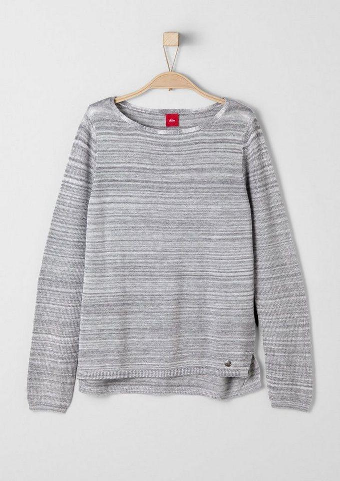 s.Oliver RED LABEL Junior Melierter Feinstrick-Pullover für Mädchen in grey melange knit AO