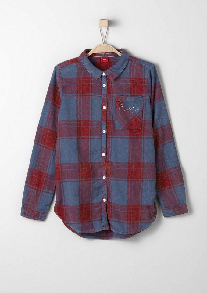 s.Oliver RED LABEL Junior Karierte Hemdbluse mit Studs für Mädchen in blue check AOP
