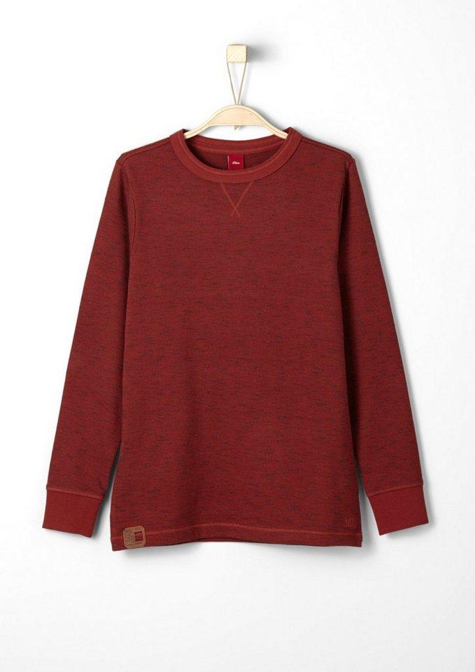 s.Oliver RED LABEL Junior Leichtes Melange-Sweatshirt für Jungen in dark red AOP