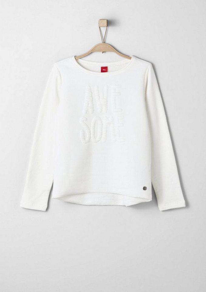 s.Oliver RED LABEL Junior Sweatshirt mit 3D-Effekt für Mädchen in ecru