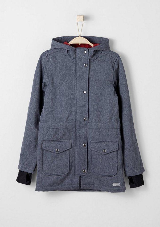 s.Oliver RED LABEL Junior Melierter Softshell-Mantel für Mädchen in dark blue AOP